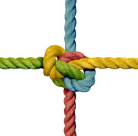 knot rope sling knotted tight colorful teamwork