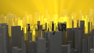 Abstract and futuristic city lit by orange and warm volumetric light. high quality 3d illustration background. Aerial shot