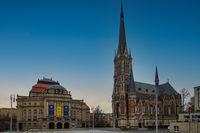 Theaterplatz with historical opera house and Petri church in Chemnitz