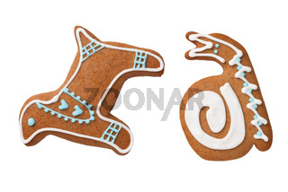 Gingerbread Dog And Snail Cookies Isolated