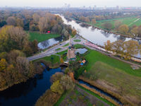 Amsterdam, The Netherlands, 8th November 2020 Riekermolen near the Amstelpark old dutch windmill aerial
