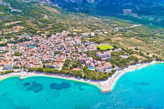 Baska Voda beach and waterfront aerial view