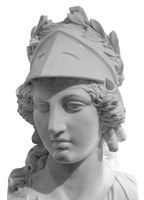 Ancient Greek goddess Athena Pallas statue isolated on white. Marble woman head in helmet sculpture.