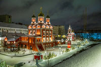 Moscow, Russia - February 04, 2020: Znamenskiy Monastery Cathedral is the olny surviving building of the larger complex. In the early days it was used as the church of the Romanovs