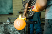 Process of making a blown glass lantern