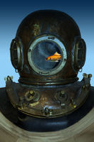 Diving helmet with a goldfish