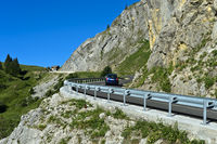 Pass road with crash barriers, La Clusaz, Bornes Aravis, Haute-Savoie, France