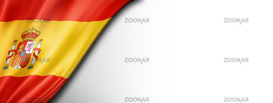 Spanish flag isolated on white banner