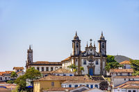 Bottom view of the historic center of Ouro Preto city with houses, churches and monuments