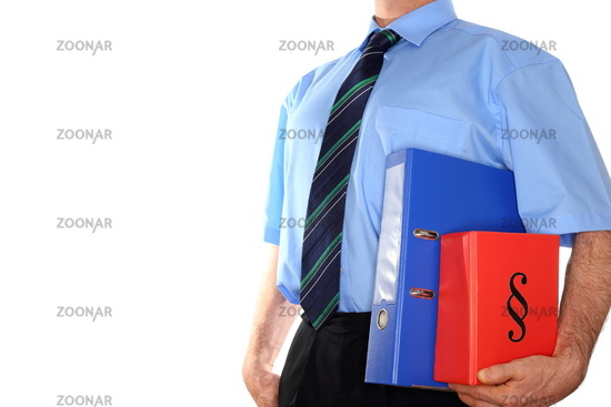 man carrys documents