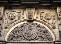 carved heraldic logo over the former lancashire and yorkshire bank in sowerby bridge