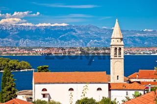 Zadar archipelago. Kali village on Ugljan church and sea landscape view