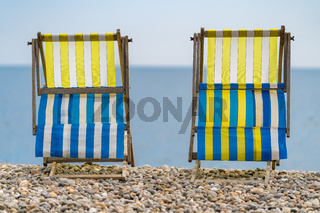 Empty Deck chairs, Beer, Devon, UK