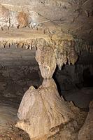 Calcite pillar (stalagnate), Lang cave, Gunung Mulu National Park, Sarawak, Borneo, Malaysia