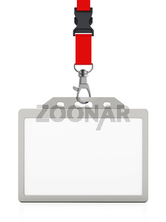 Blank ID card isolated on white background. 3D illustration