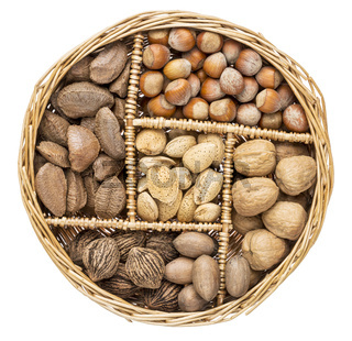 nuts in a basket tray