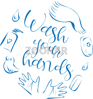 Cute illustration with bath products and text 'wash your hands'