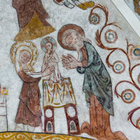 Circumcision of Jesus in accordance with Jewish tradition, Wall-paintin in Skibby church, Denmark