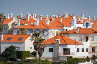 Tiled roofs of small town houses in Portugal