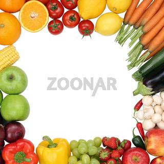 Rahmen aus Früchte, Obst und Gemüse mit Textfreiraum