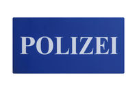 German sign isolated over white. Polizei (Police)