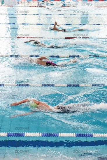 Swimmers in a race