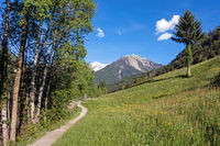 Hiking trail in Passer valley in Alto Adige, Italian Alps