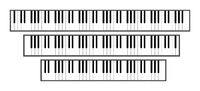 Piano keyboard sizes 3d illustration. 88, 61 and 76 keys.