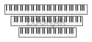Piano keyboard sizes 3d illustration. 88, 61 and 76 keys.