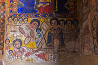 Canvas painting in the orthodox church Abreha wa Atsbaha, Gheralta region, Tigray, Ethiopia