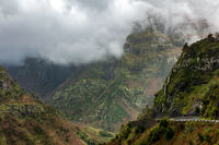 Beautiful landscape mountains with clouds, in Madeira