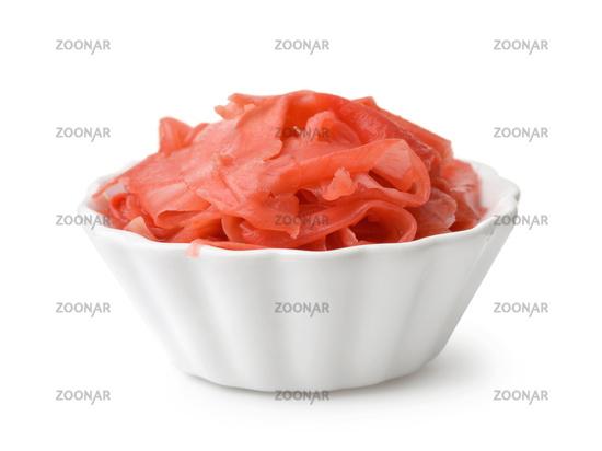 Bowl of pickled sliced ginger