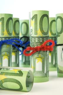 Gerollte einhundert Euro Banknoten