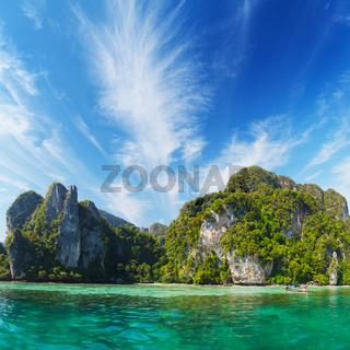 Marine tropical landscape with limestone cliffs. Thailand