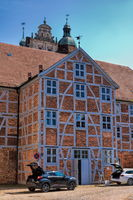 güstrow, germany - 07.06.2019 - half-timbering at güstrow castle
