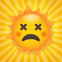 Sun Icon Isolated With Yellow Burst Background