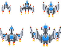Set of level up of cute little spaceships, vintage game hero in pixel art style on white