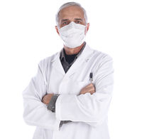 Doctor wearing lab coat and surgical mask with his arm folded isolated on white.