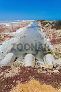 Drainage in stream near salt lake