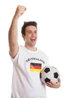 Screaming german soccer fan with football