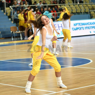 Orenburg, Russia - October 3, 2019: girls cheerleading perform at a basketball game