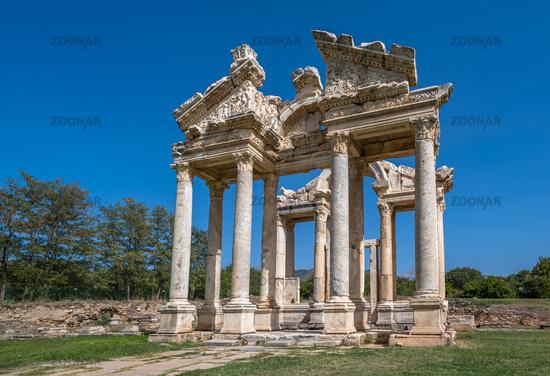 Tetrapylon Gate in Aphrodisias ancient city, Aydin, Turkey.