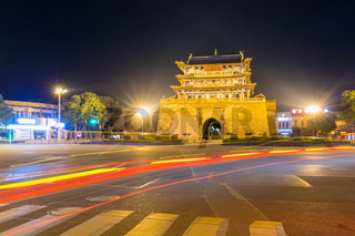ancient weiyuan tower at night