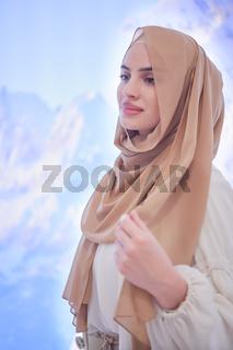 portrait of beautiful muslim woman in fashionable dress