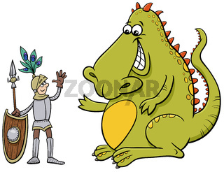 dragon and knight having a friendly talk cartoon illustration