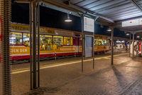 Light rail stop - at night