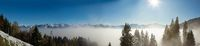above the fog in Lungern with the swiss Alps