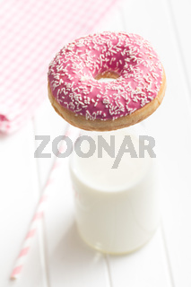 pink donut and milk