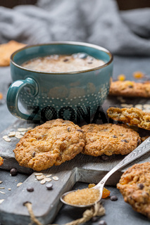 Homemade oatmeal cookies with raisins and chocolate.