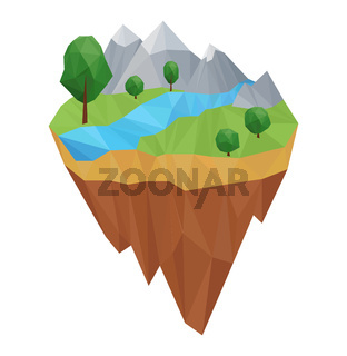 Low poly geometric island. Vector nature concept